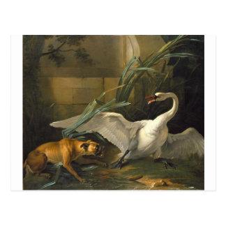Cisne atacado por un perro de Jean-Baptiste Oudry Postal