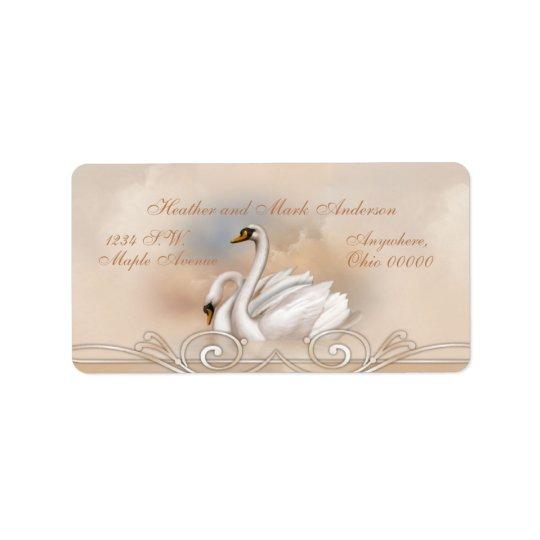 Cisne blanco de Elegan que casa etiquetas del remi Etiqueta De Dirección