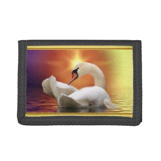 Cisne blanco en un lago con una puesta del sol