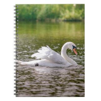 Cisne blanco en un lago cuaderno
