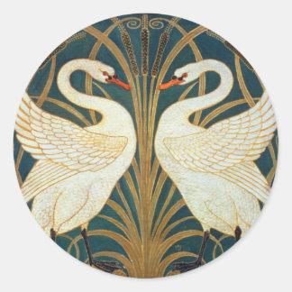 Cisne de la grúa de Gualterio, precipitación y Pegatina Redonda