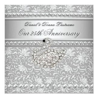 Cisne de plata 2 del damasco del 25to aniversario invitación 13,3 cm x 13,3cm