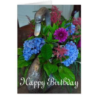 Cisne y flores tarjeta de felicitación