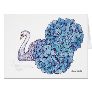 Cisne y Hortensias - tarjeta de felicitación