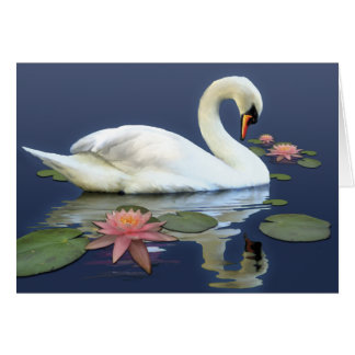 Cisne y lirios tarjeta de felicitación
