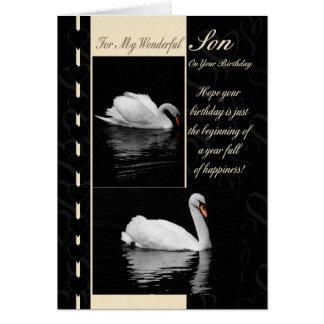Cisnes de la tarjeta de cumpleaños del hijo