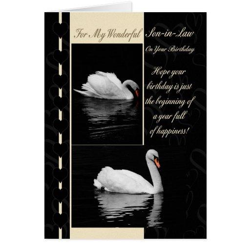 Cisnes de la tarjeta de cumpleaños del yerno