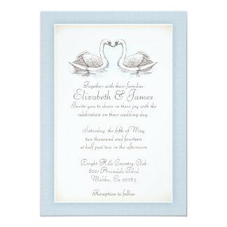 Cisnes que casan invitaciones invitación 12,7 x 17,8 cm