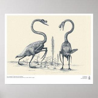 Cisnes según lo imaginado por los Palaeontologists Póster