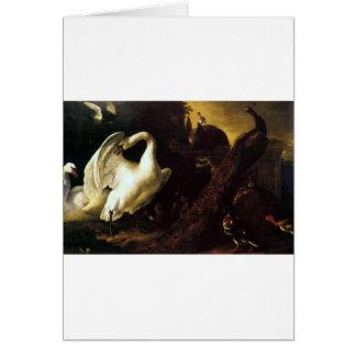 Cisnes y pavos reales por el d'Hondecoeter de Tarjeta De Felicitación