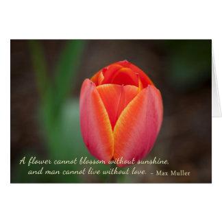 Cita anaranjada romántica del amor de la floración tarjeta pequeña