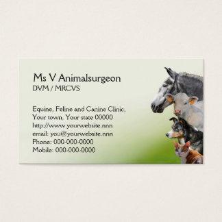 Cita animal del veterinario tarjeta de negocios
