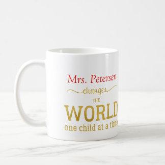 Cita conocida de la escritura del oro del profesor taza de café