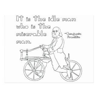 Cita de Ben Franklin en la bici Postal