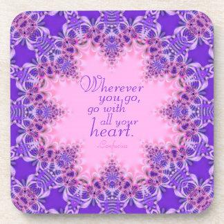 Cita de encargo inspiradora rosada púrpura Sistem Posavasos De Bebidas