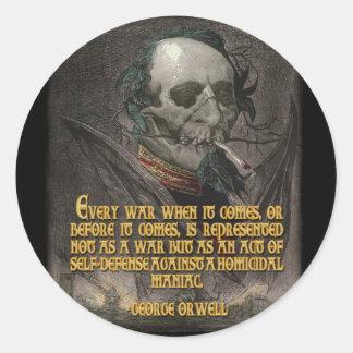 Cita de George Orwell en propaganda del tiempo de Pegatina Redonda