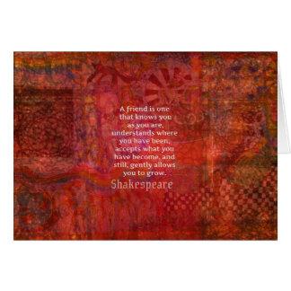 Cita de la AMISTAD de Shakespeare Tarjeta De Felicitación