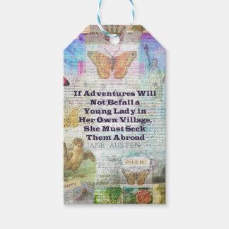 Cita de la aventura del viaje de Jane Austen Etiquetas Para Regalos