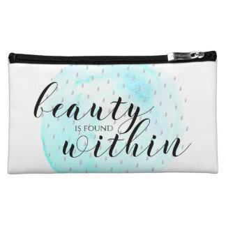 Cita de la belleza de la acuarela bolso de maquillaje