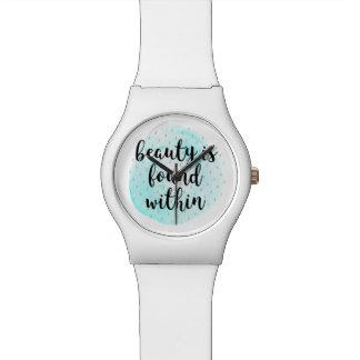 Cita de la belleza de la acuarela reloj de pulsera