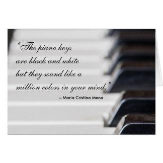 Cita de las llaves del piano tarjeta de felicitación