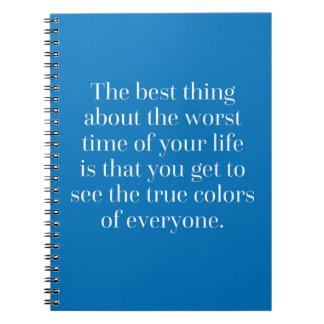 Cita de los colores verdaderos cuaderno