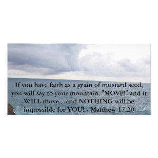 Cita de motivación de la biblia del 17:20 de Matth Tarjetas Fotográficas Personalizadas