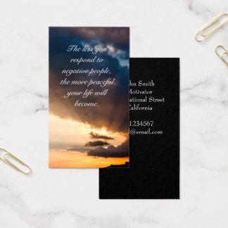 Cita de motivación de los rayos de esperanza tarjeta de visita