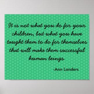 Cita de motivación en niños y el Parenting Póster