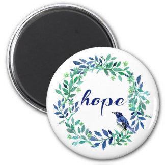 Cita de motivación tipográfica de la esperanza, imán