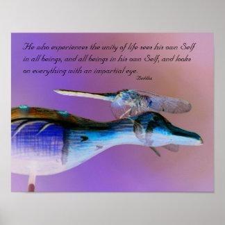 Cita de neón de la unidad de Buda de la libélula i Impresiones