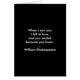 Cita de Shakespeare - caí en amor Tarjeta De Felicitación