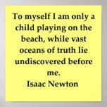cita de sir Isaac Newton Poster