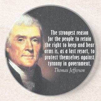 Cita de Thomas Jefferson a la derecha de llevar Posavasos Manualidades
