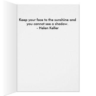 Cita del girasol de Helen Keller Tarjeta De Felicitación