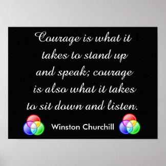 Cita del valor - Winston Churchill Póster