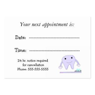 Cita dental con el diente lindo tarjetas de visita