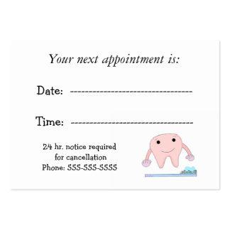 Cita dental con el diente lindo tarjetas personales