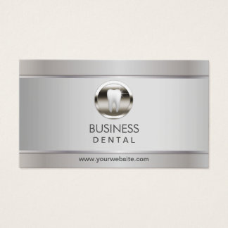 Cita dental de plata profesional del dentista tarjeta de visita