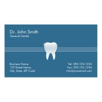 Cita dental del diente brillante azul tarjetas de visita