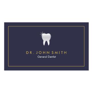 Cita dental del diente brillante del azul real tarjetas de visita