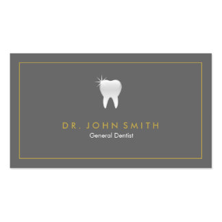 Cita dental del diente gris de oro del marco tarjetas de visita