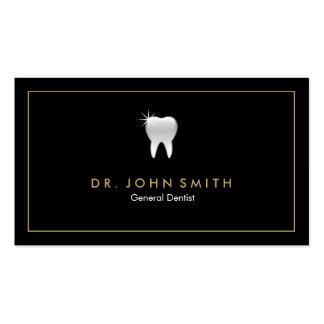 Cita dental del marco del diente de oro del negro tarjetas de visita