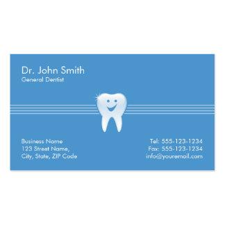 Cita dental sonriente brillante azul del diente tarjetas de visita
