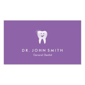 Cita dental sonriente brillante púrpura del diente tarjetas de visita