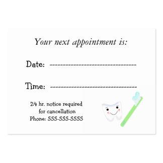 Cita dental tarjetas de visita grandes