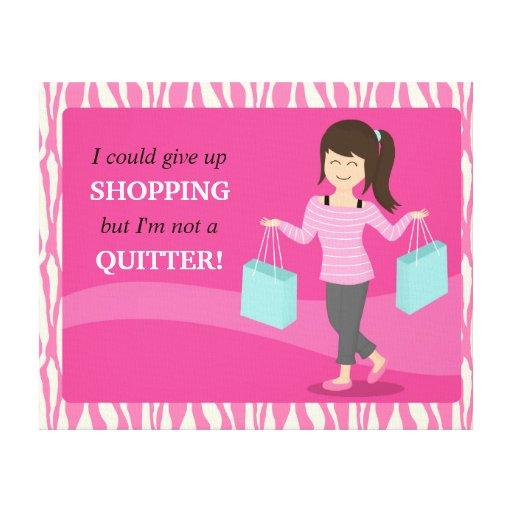 Cita divertida femenina de las compras no un lona envuelta para galerias