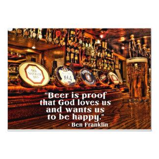 Cita famosa de la cerveza de Ben Franklin Invitación 12,7 X 17,8 Cm