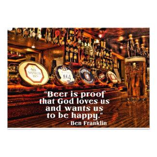 Cita famosa de la cerveza de Ben Franklin Invitaciones Personales