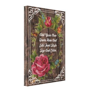Cita floral del vintage lienzo